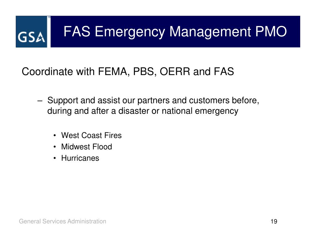 FAS Emergency Management PMO