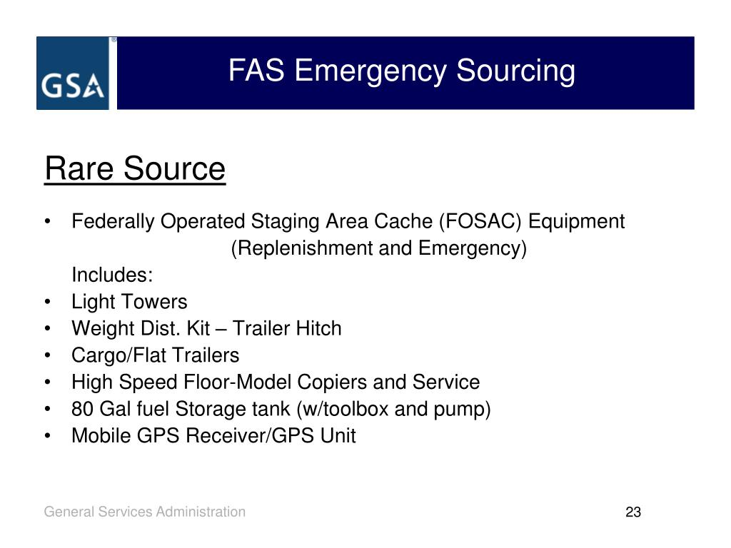FAS Emergency Sourcing
