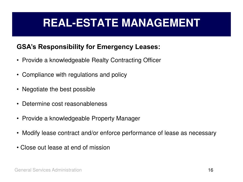 GSA's Responsibility for Emergency Leases: