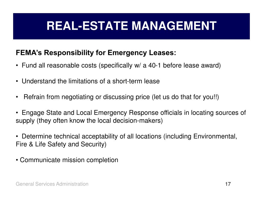FEMA's Responsibility for Emergency Leases: