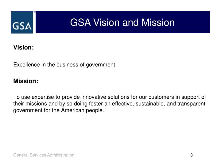 GSA Vision and Mission