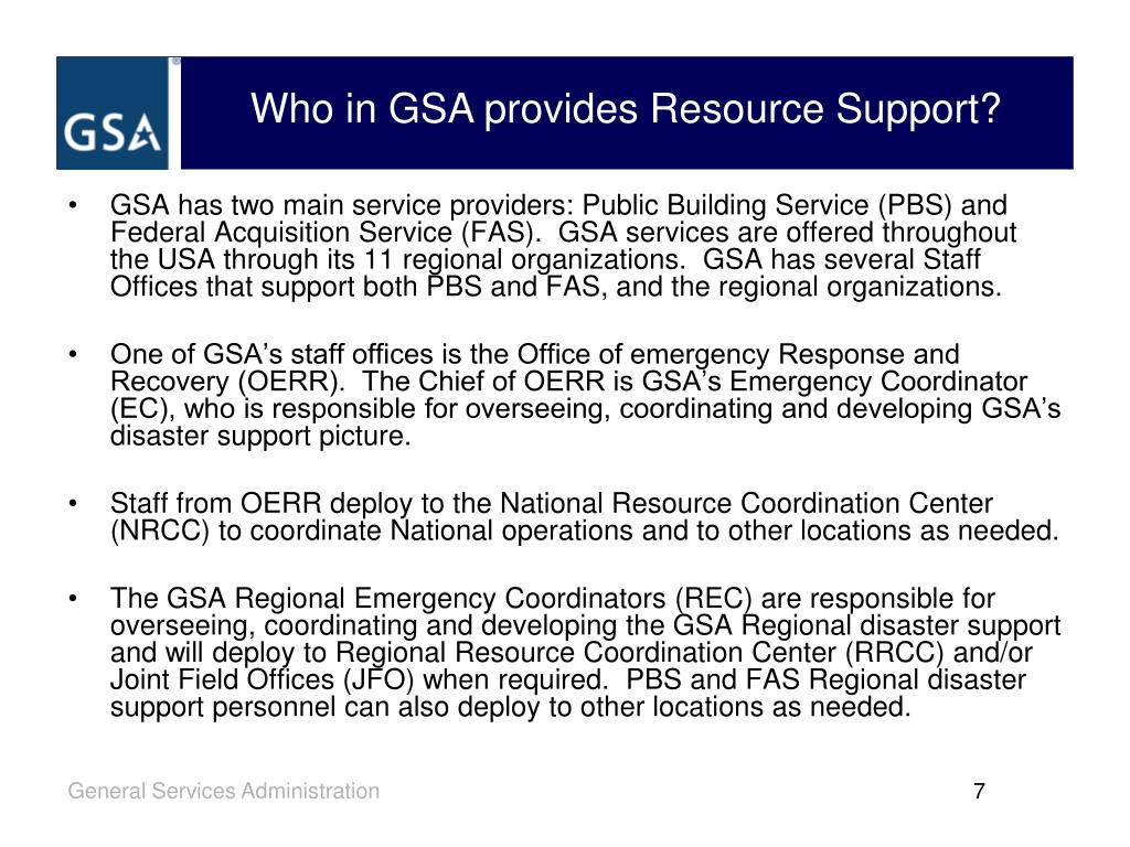 Who in GSA provides Resource Support?