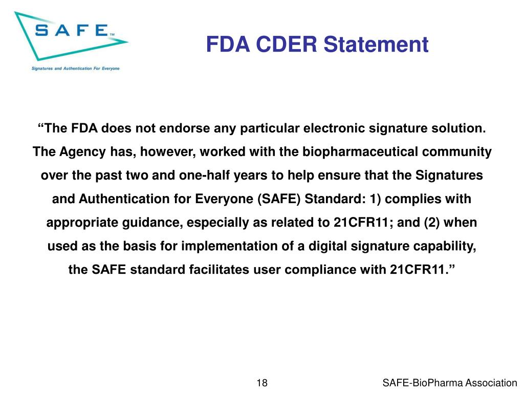 FDA CDER Statement