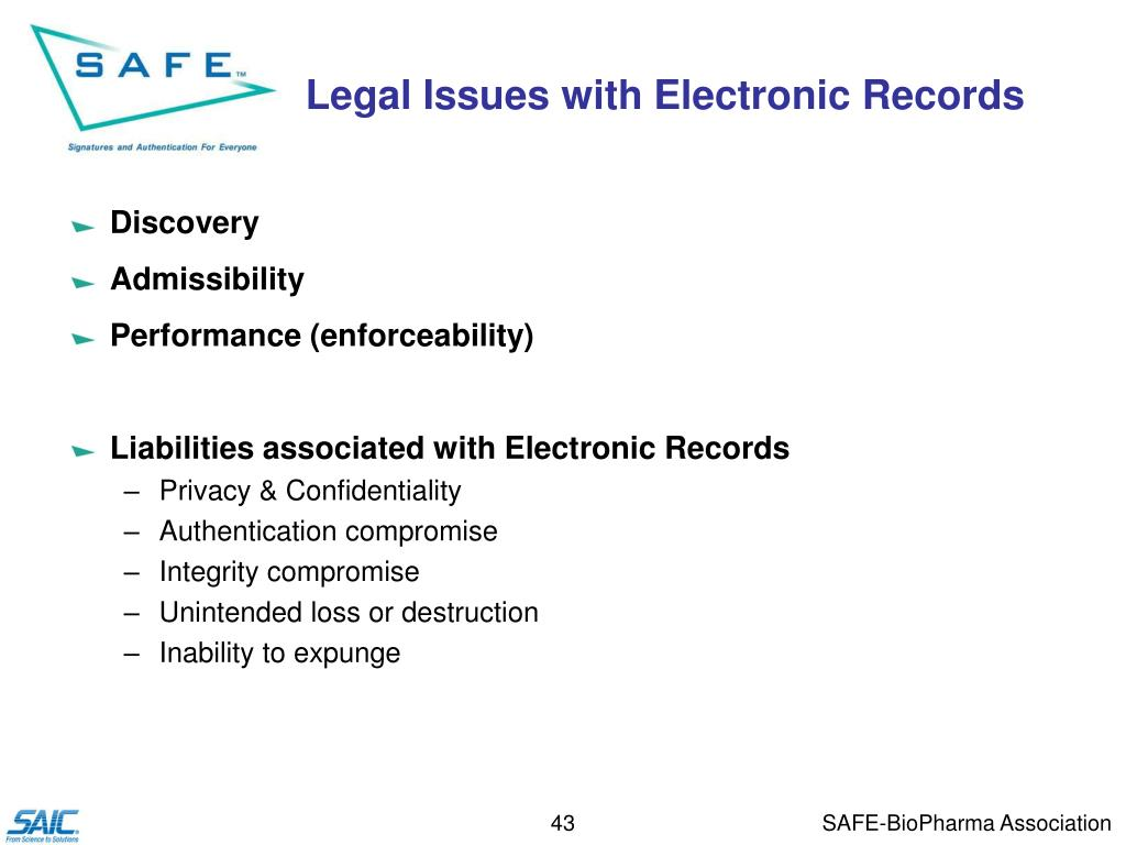 Legal Issues with Electronic Records