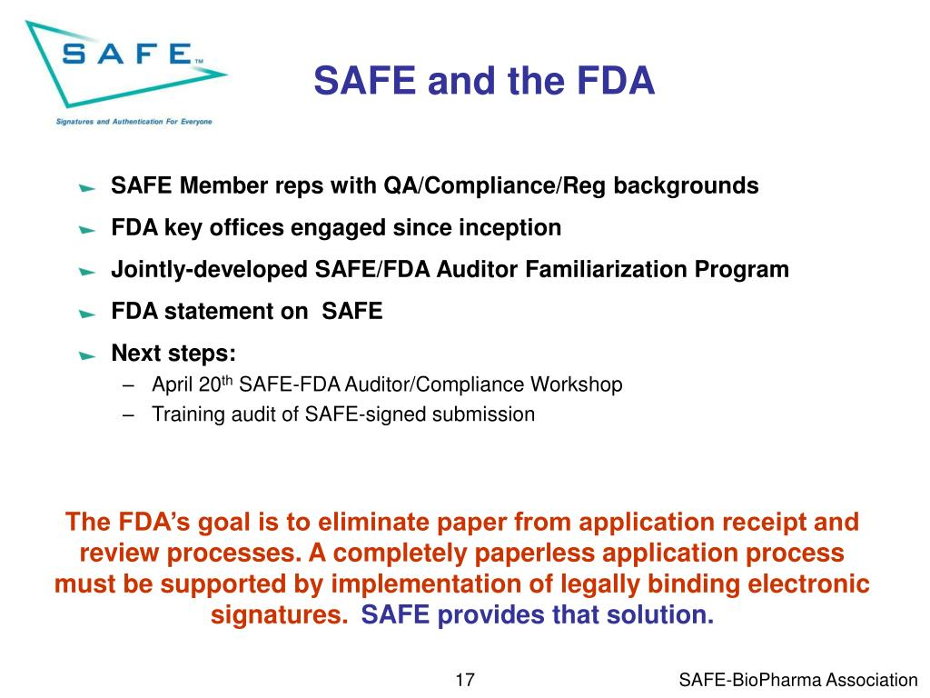 SAFE and the FDA