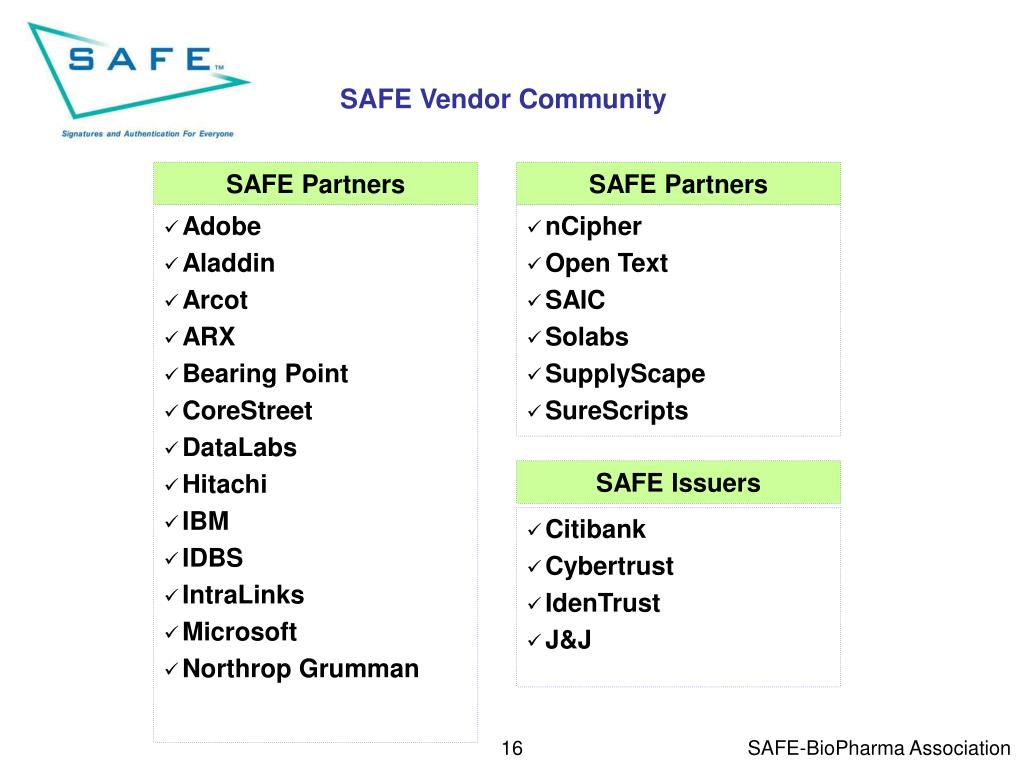 SAFE Vendor Community