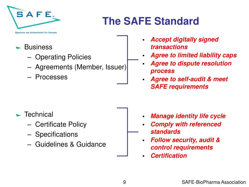 The SAFE Standard