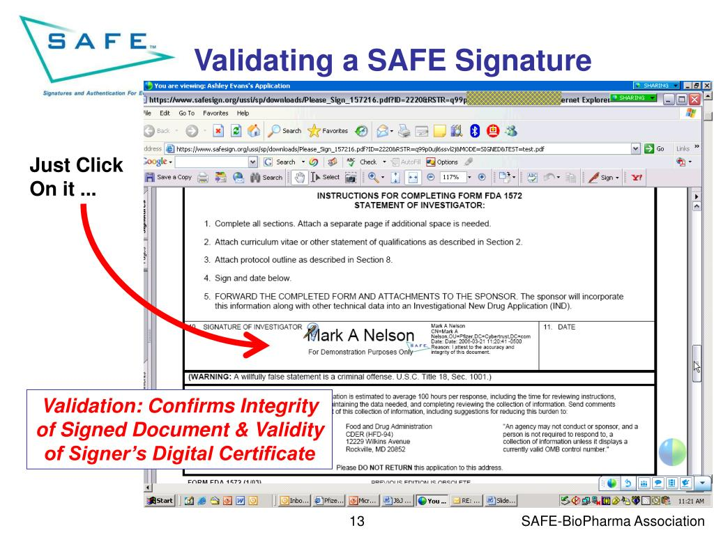 Validating a SAFE Signature