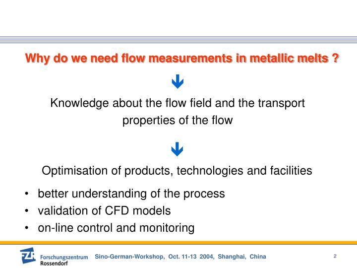 Why do we need flow measurements in metallic melts ?