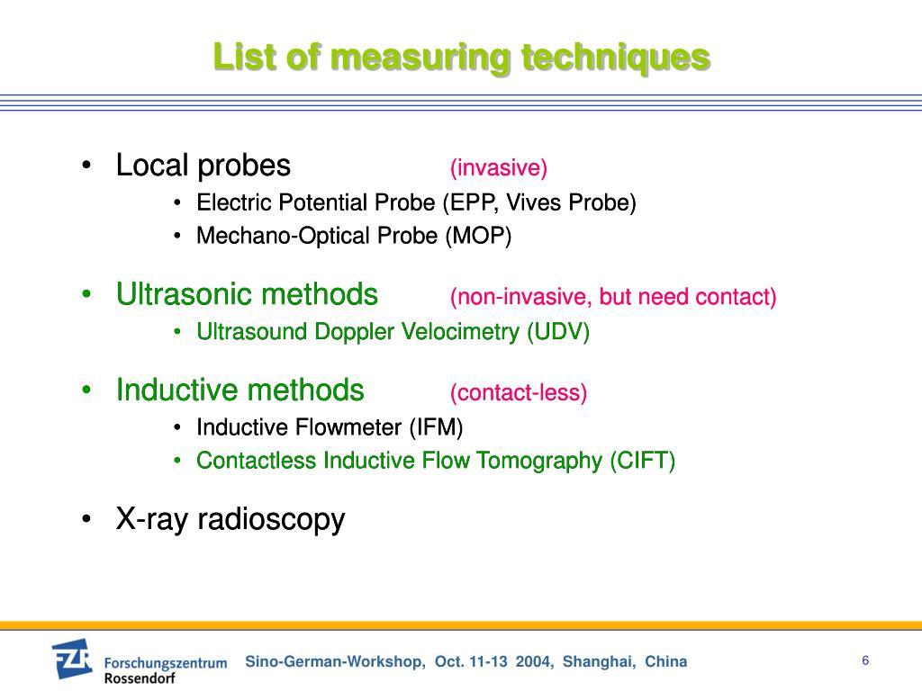 List of measuring techniques