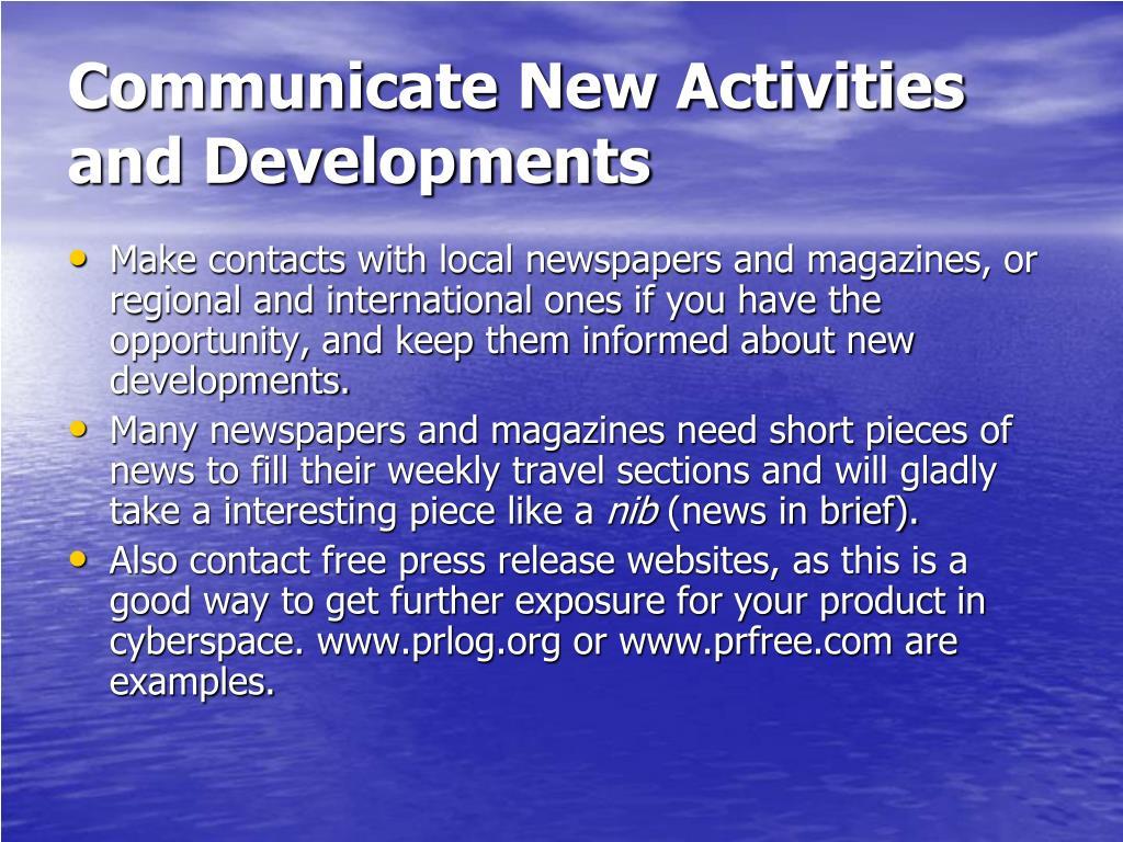 Communicate New Activities