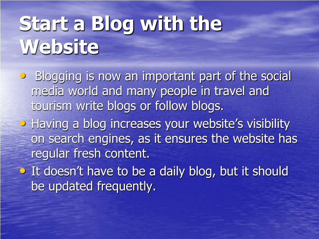 Start a Blog with the Website