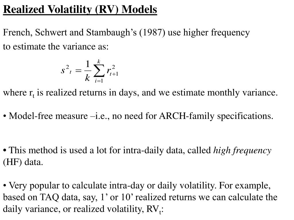 Realized Volatility (RV) Models