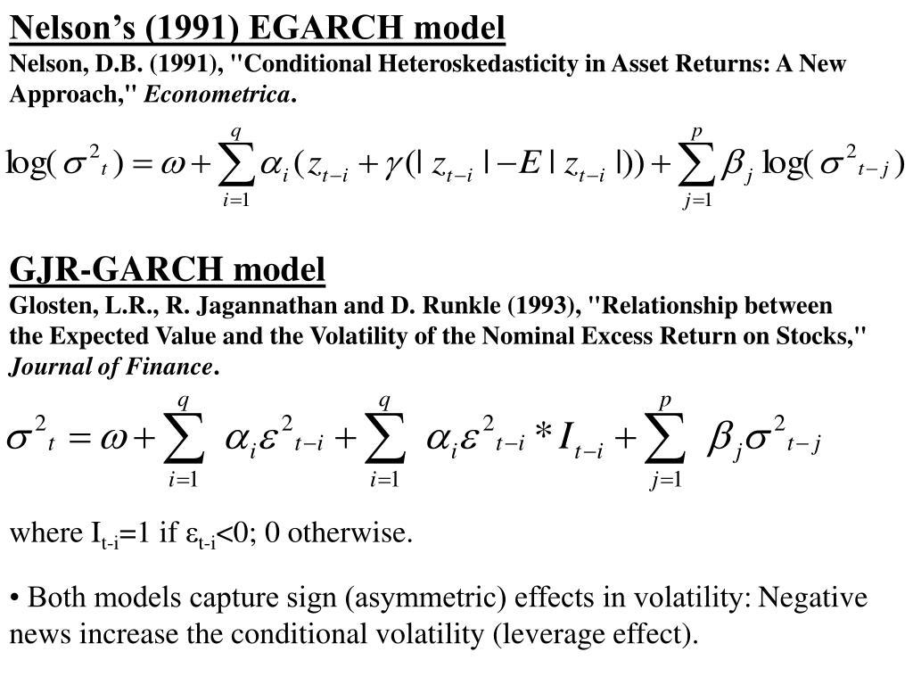 Nelson's (1991) EGARCH model