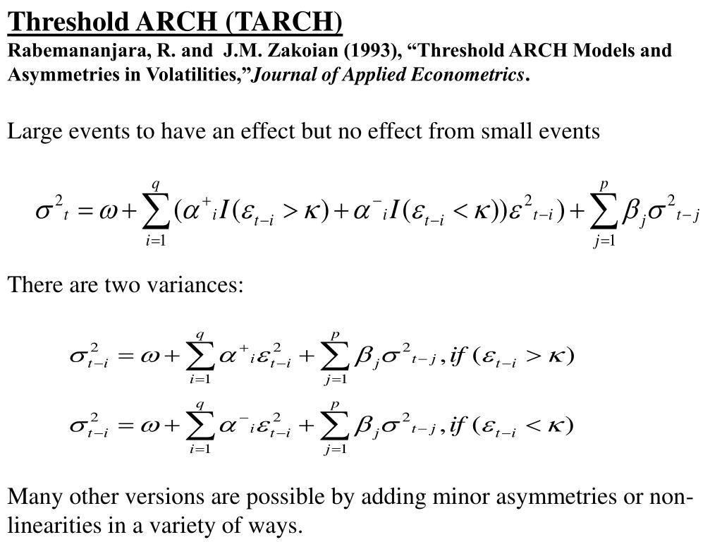 Threshold ARCH (TARCH)
