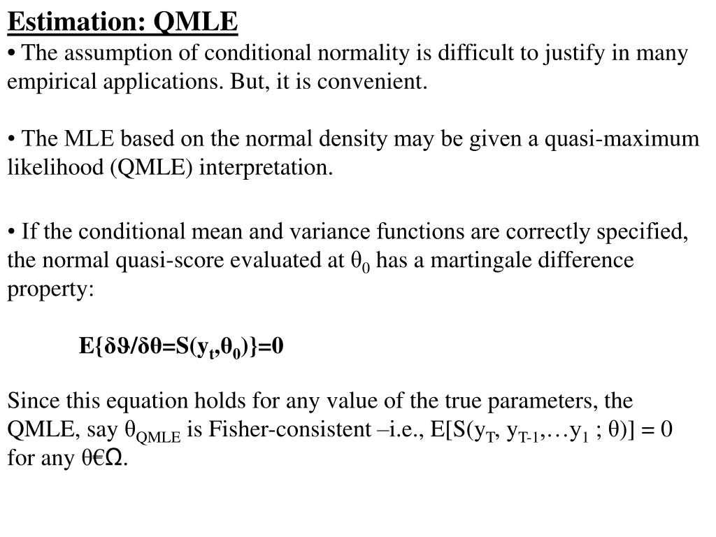 Estimation: QMLE