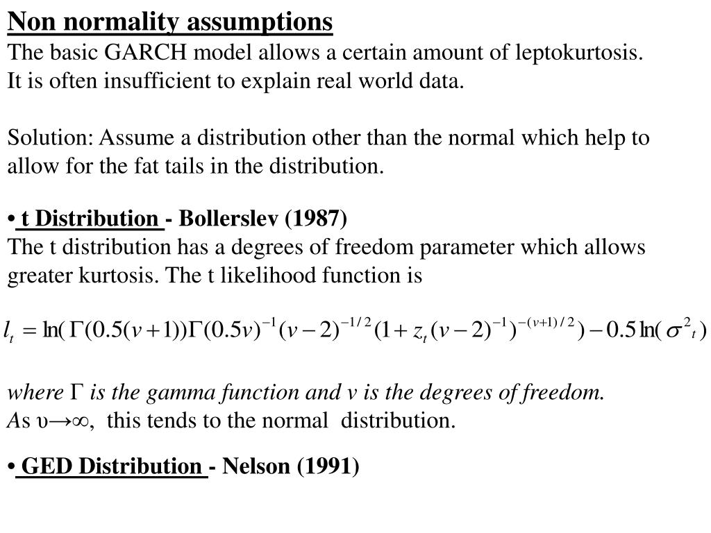 Non normality assumptions