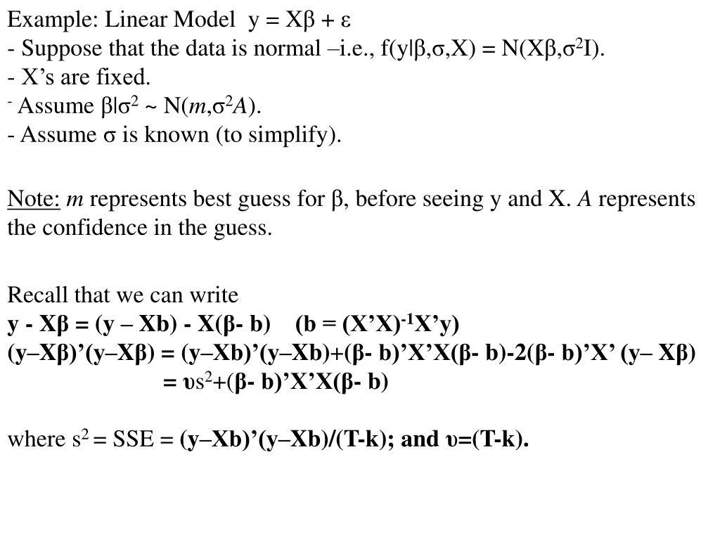 Example: Linear Model  y = X