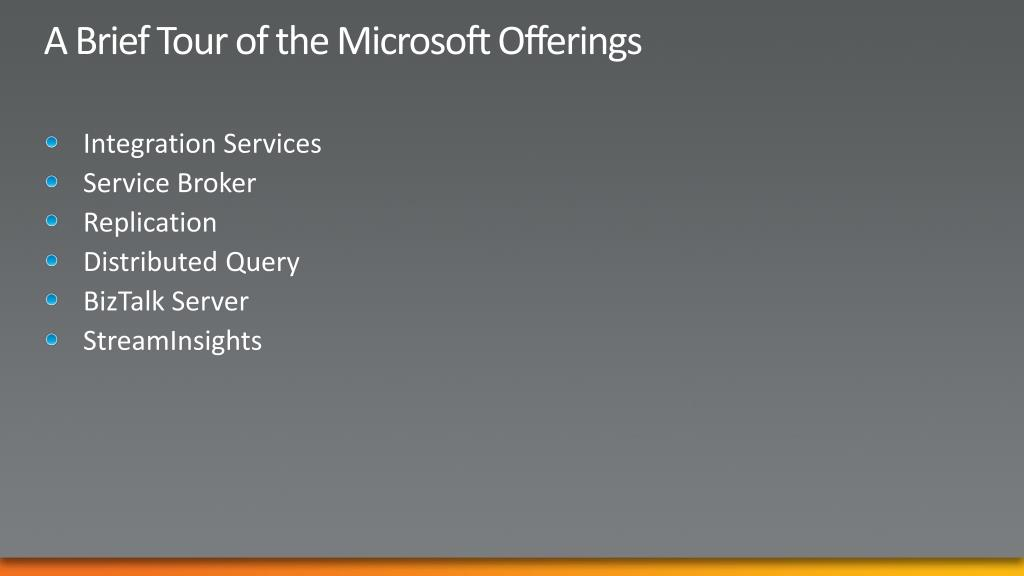 A Brief Tour of the Microsoft Offerings