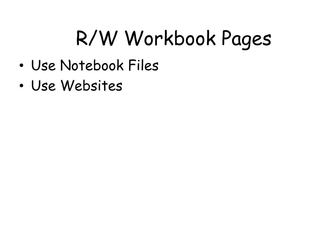 R/W Workbook Pages