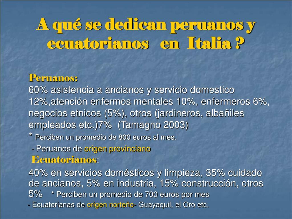 A qué se dedican peruanos y ecuatorianos   en  Italia ?