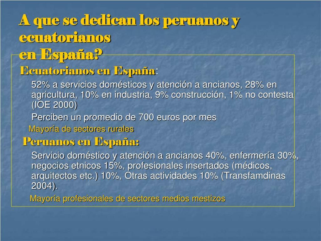 A que se dedican los peruanos y ecuatorianos