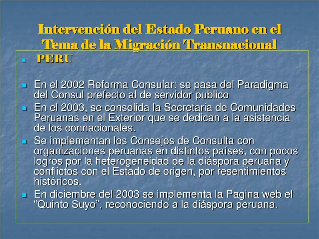 Intervención del Estado Peruano en el Tema de la Migración Transnacional