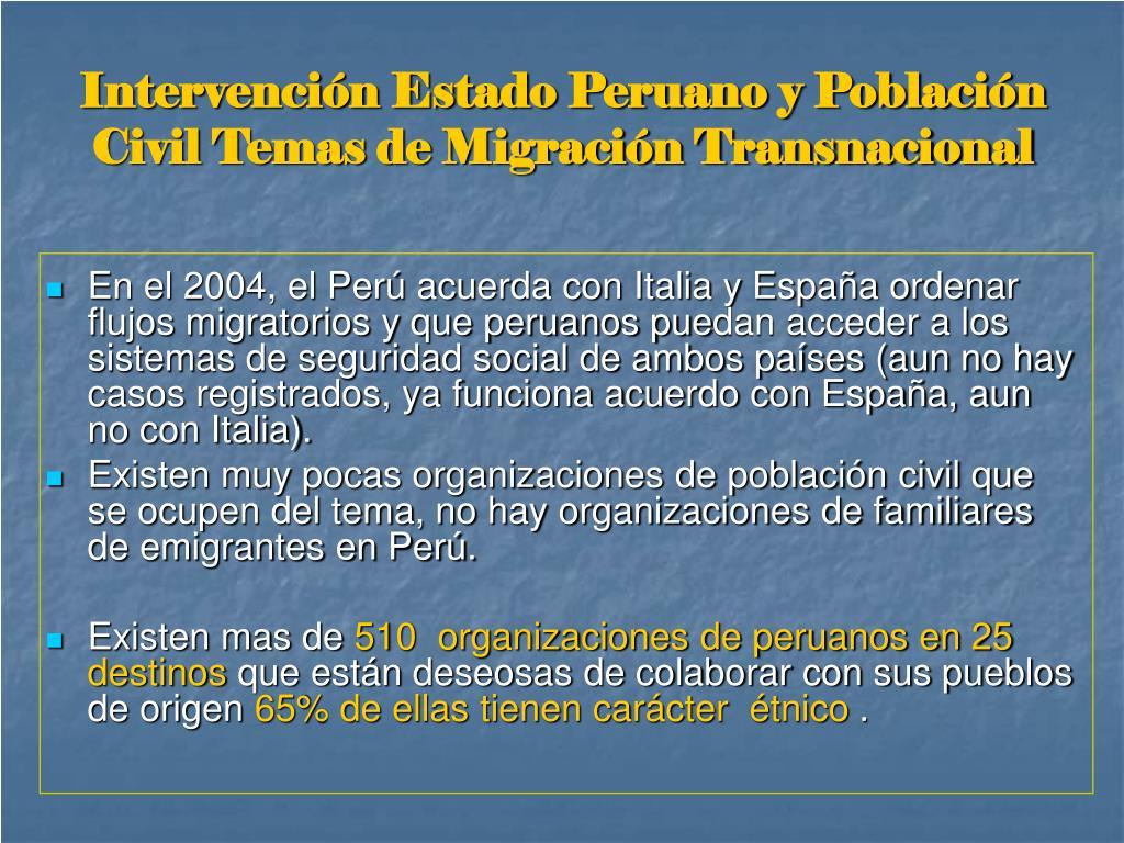 Intervención Estado Peruano y Población Civil Temas de Migración Transnacional
