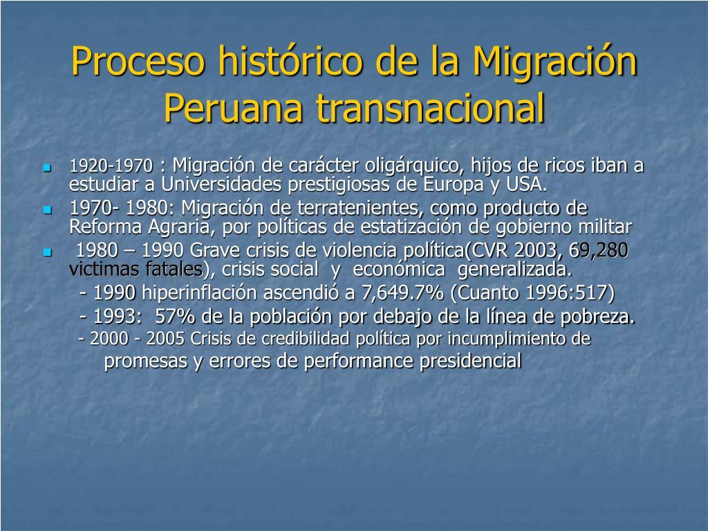 Proceso histórico de la Migración Peruana transnacional