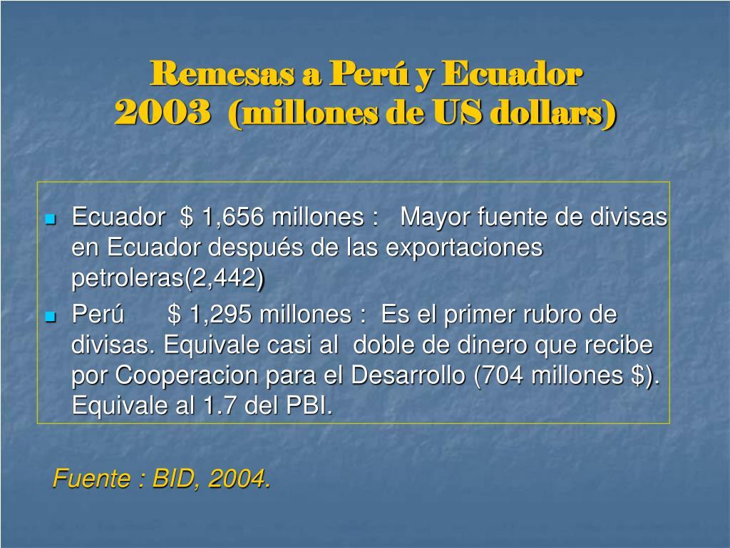 Remesas a Perú y Ecuador