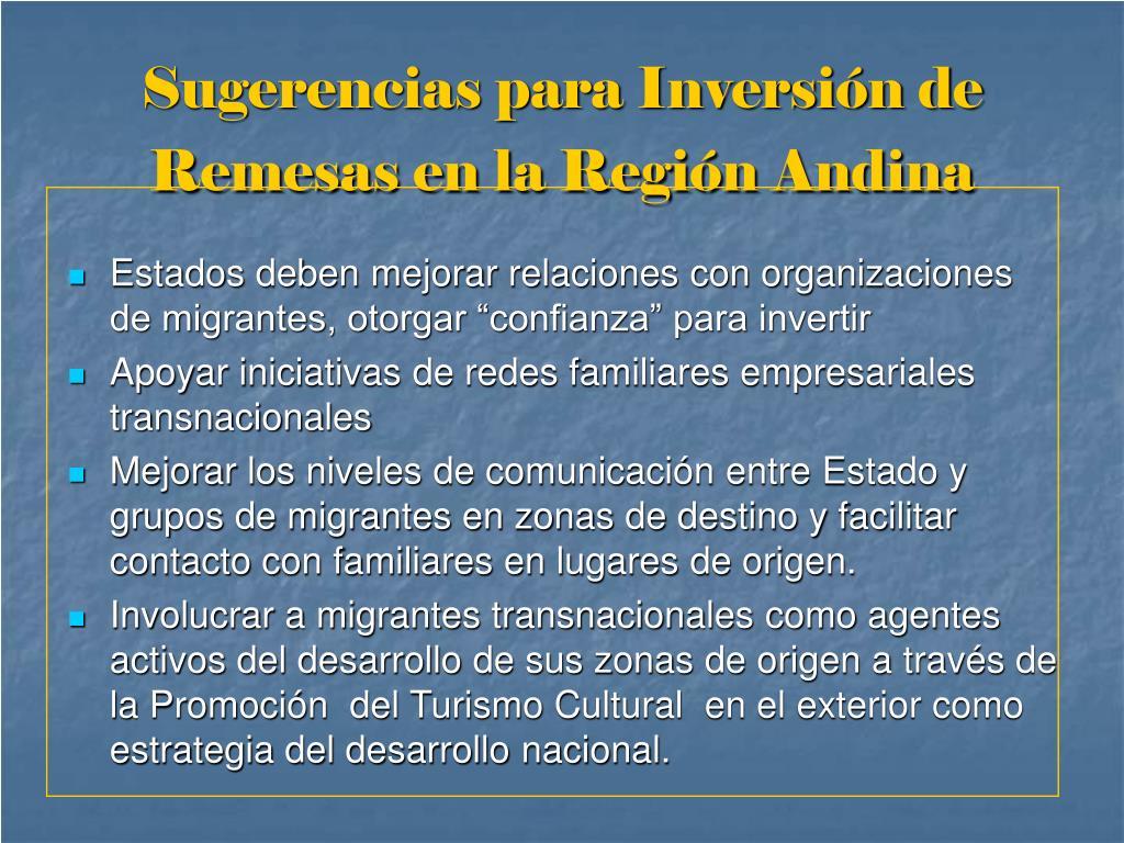 Sugerencias para Inversión de Remesas en la Región Andina