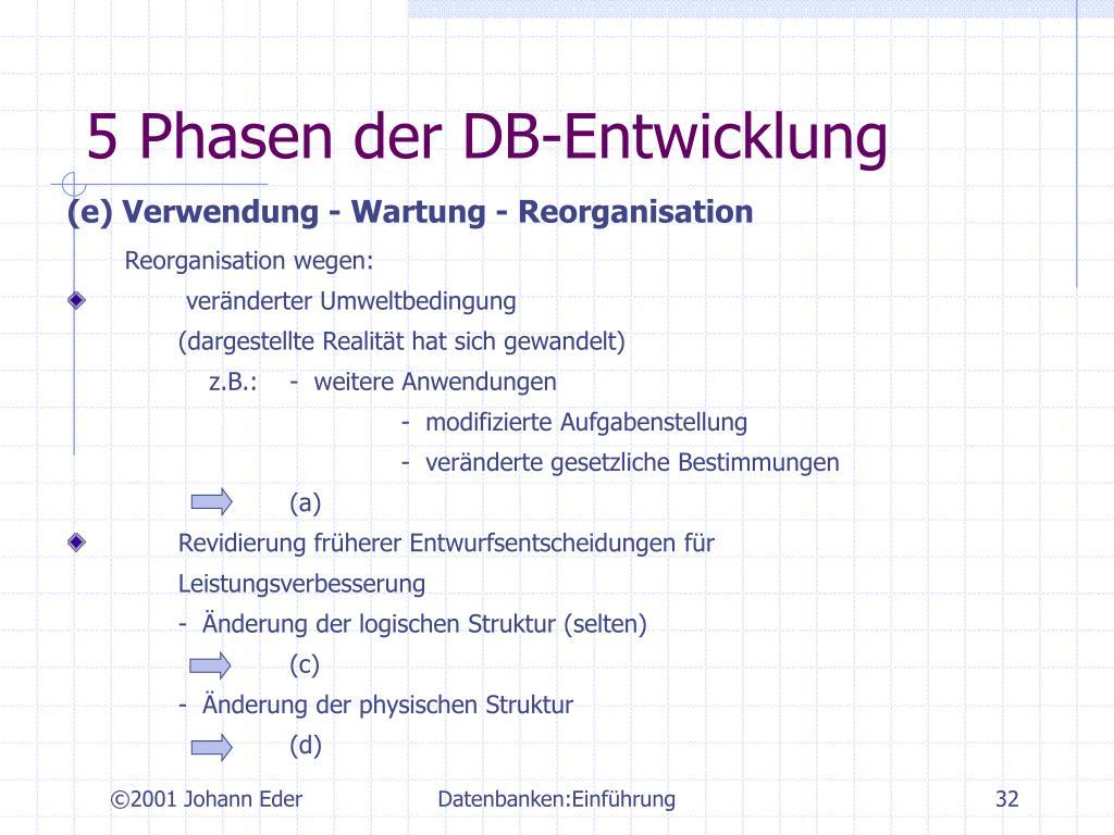5 Phasen der DB-Entwicklung