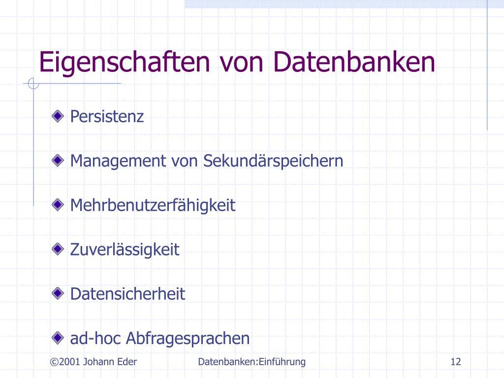 Eigenschaften von Datenbanken