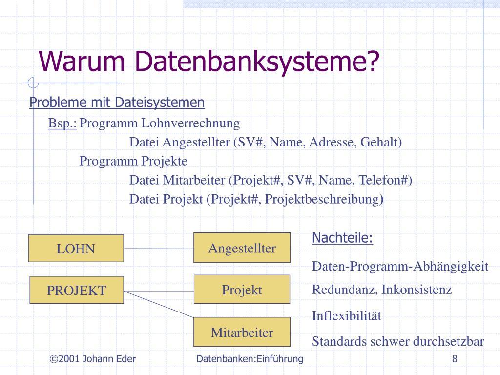 Warum Datenbanksysteme?