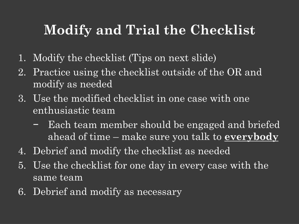 Modify and Trial the Checklist