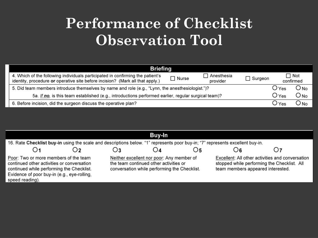 Performance of Checklist Observation Tool