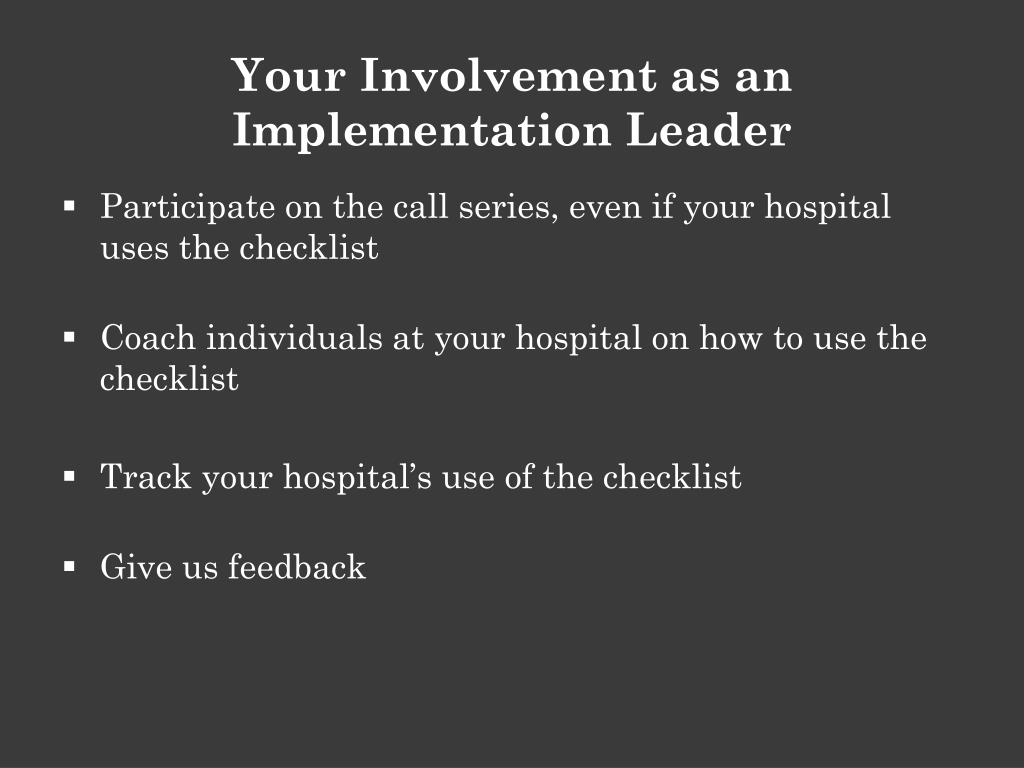 Your Involvement as an Implementation Leader