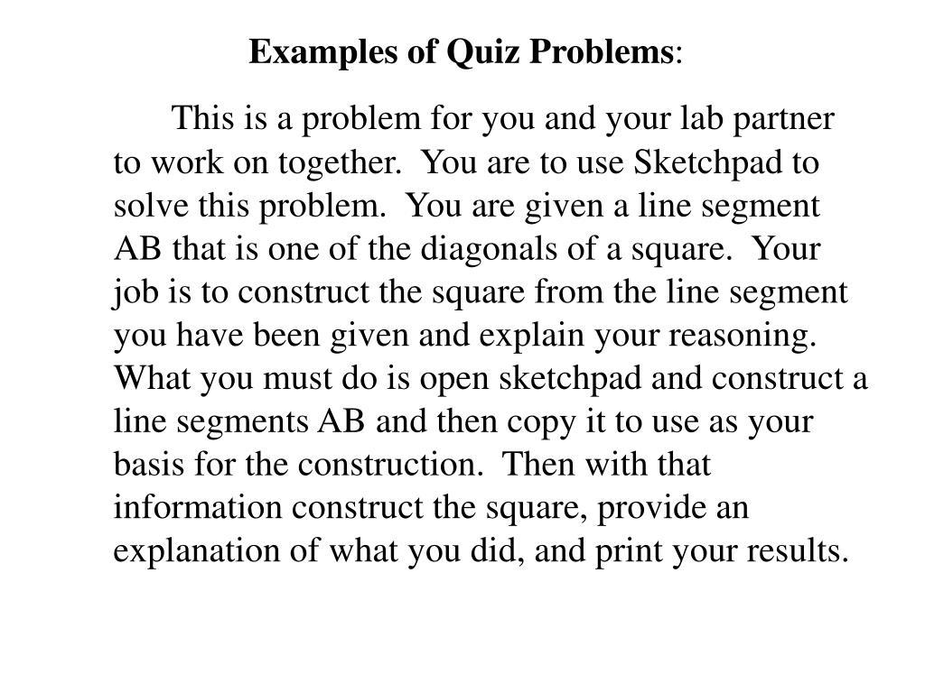 Examples of Quiz Problems