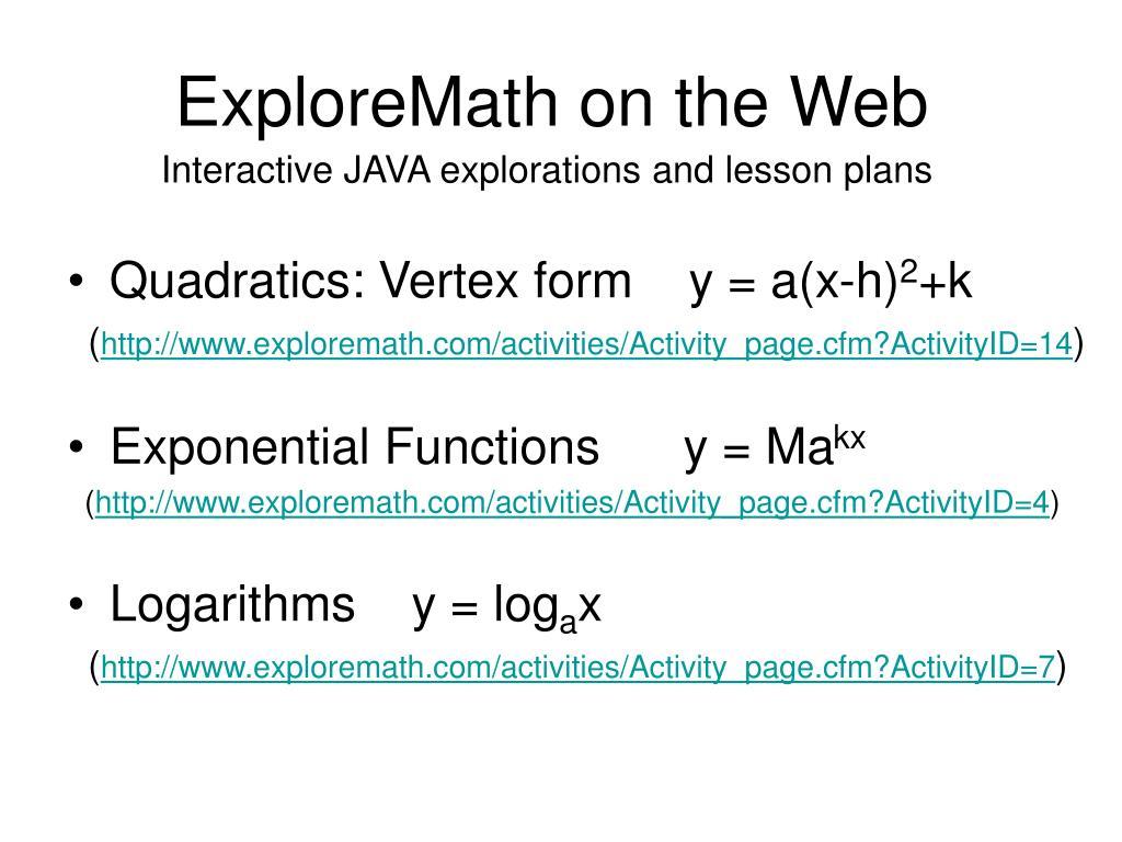 ExploreMath on the Web