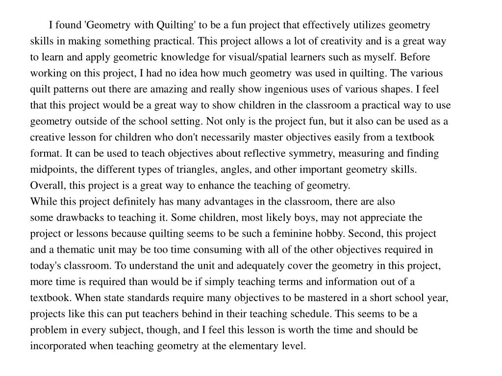 I found 'Geometry with Quilting' to be a fun project that effectively utilizes geometry