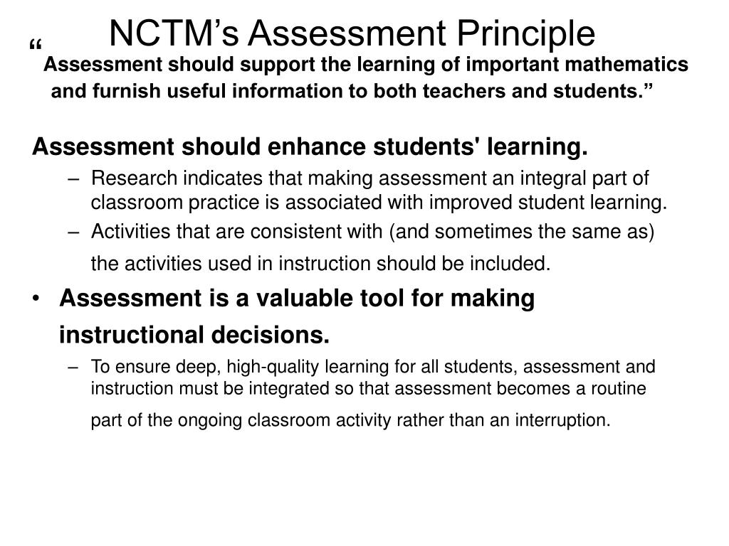 NCTM's Assessment Principle