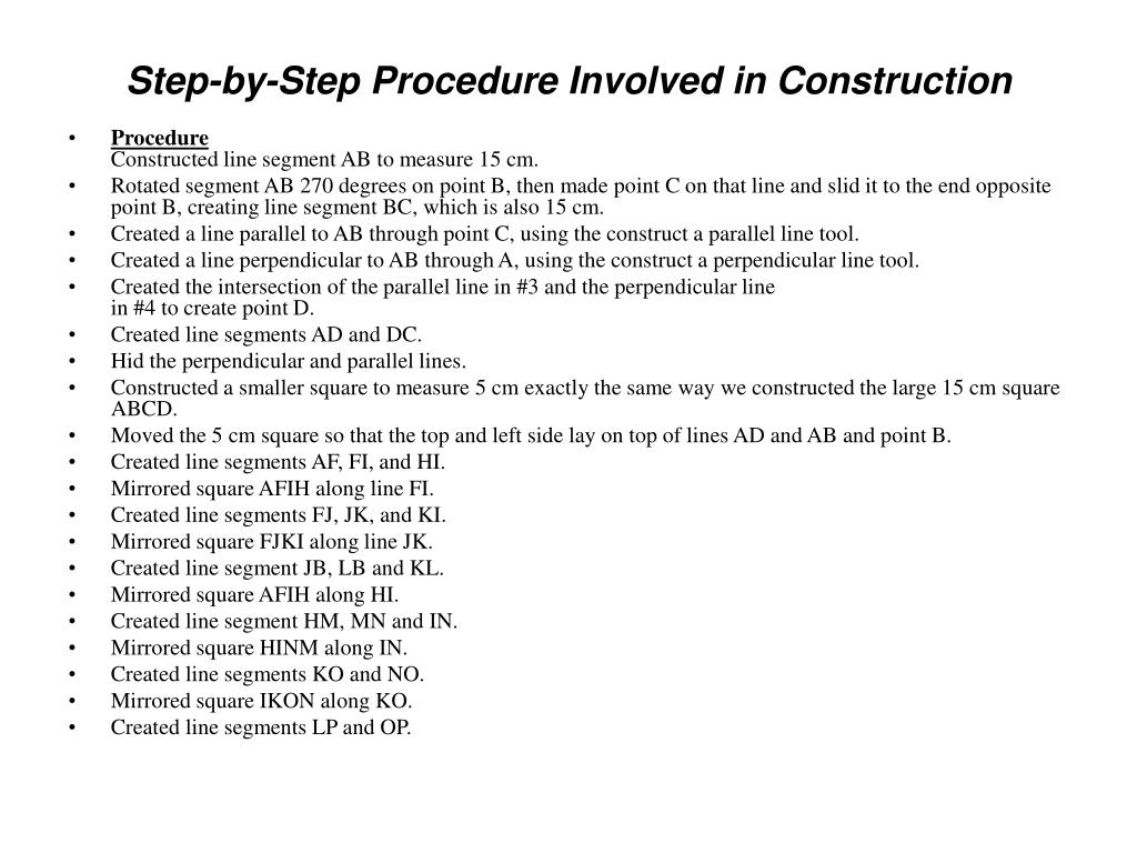 Step-by-Step Procedure Involved in Construction