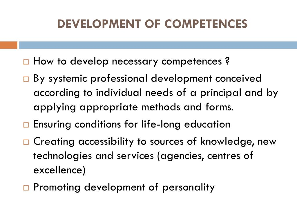 DEVELOPMENT OF COMPETENCES