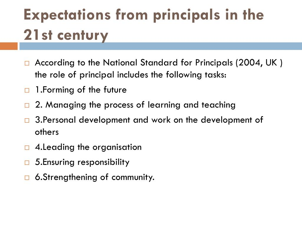 Expectations from principals in the 21st century
