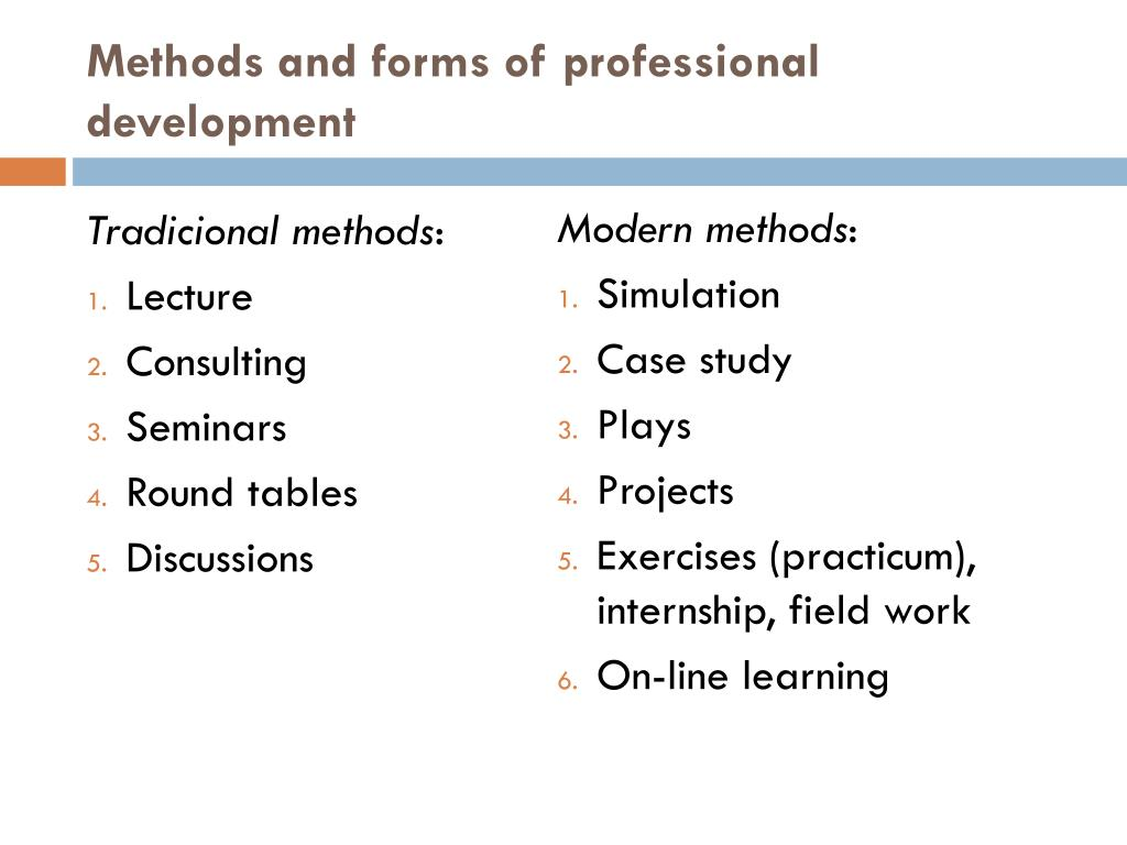 Methods and forms of professional development
