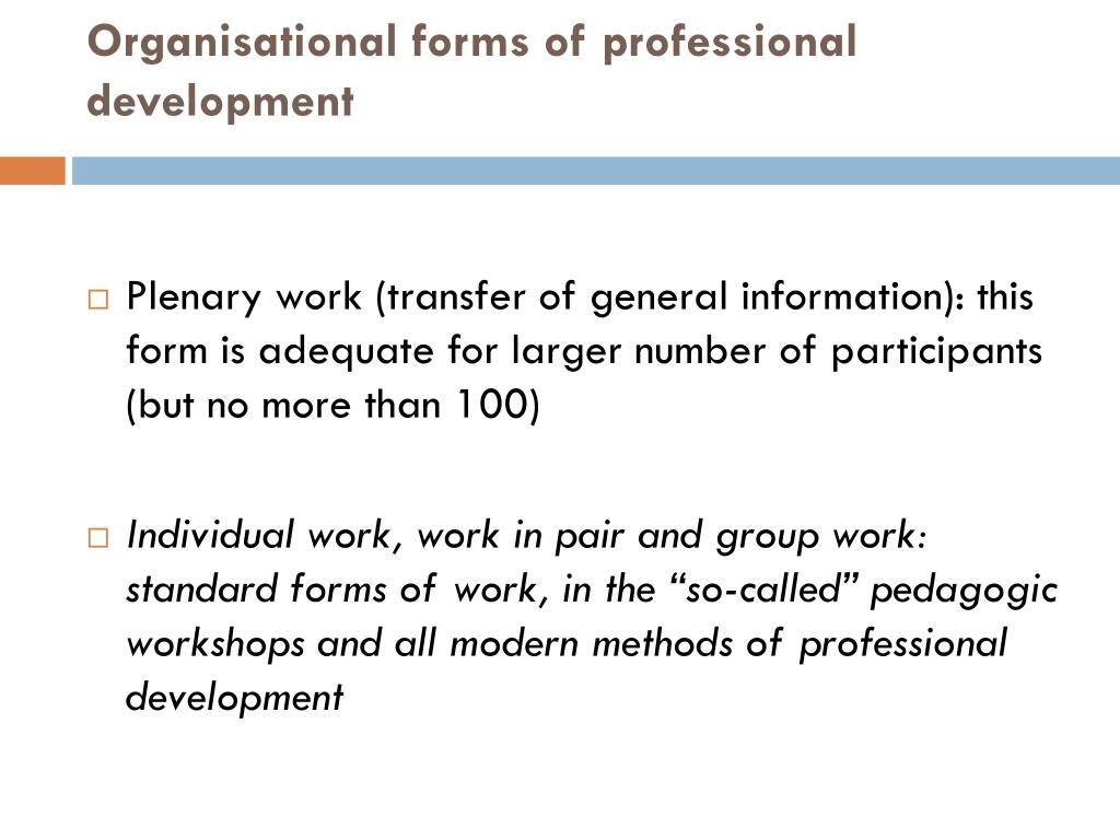 Organisational forms of professional development