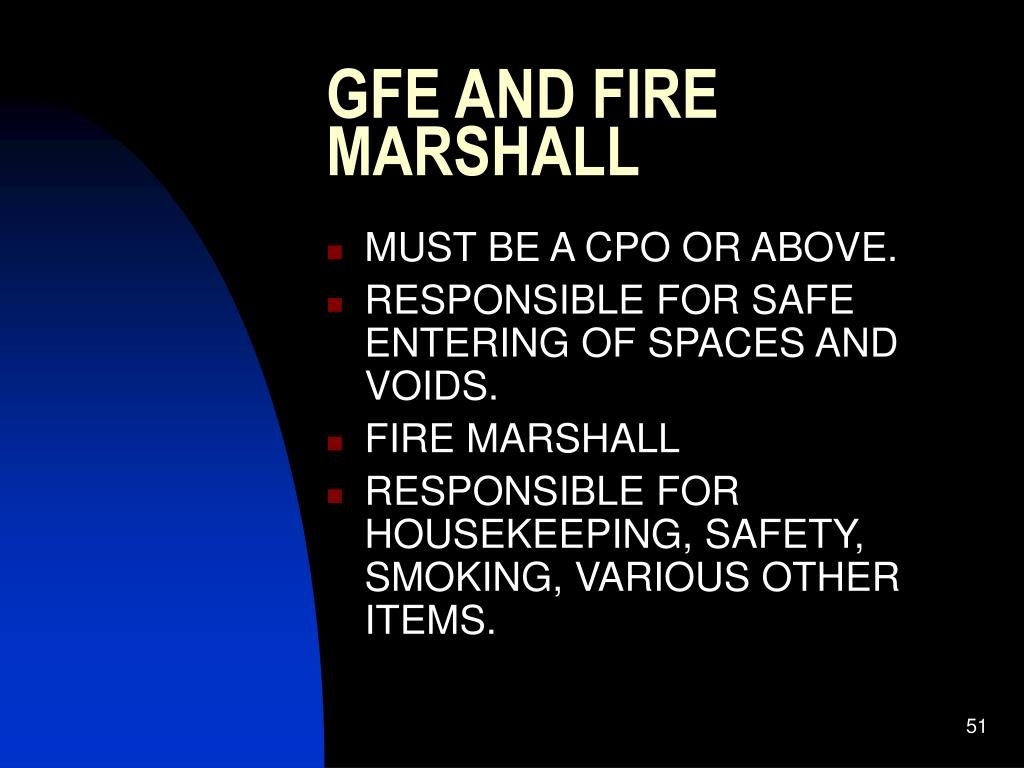GFE AND FIRE MARSHALL