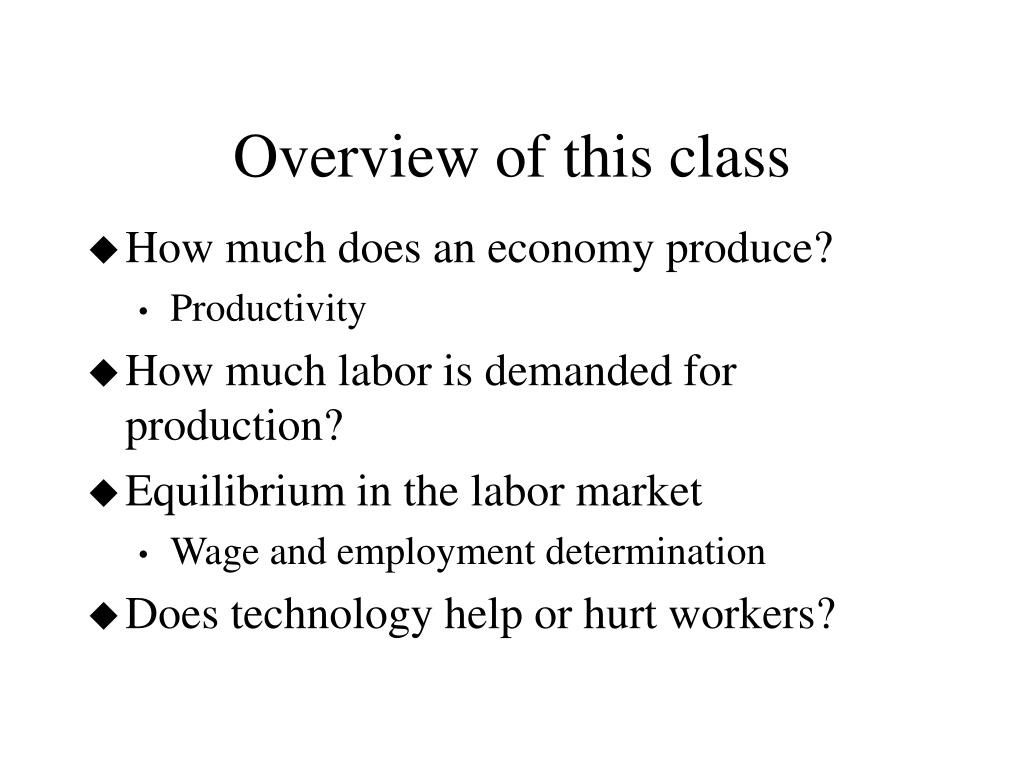 Overview of this class