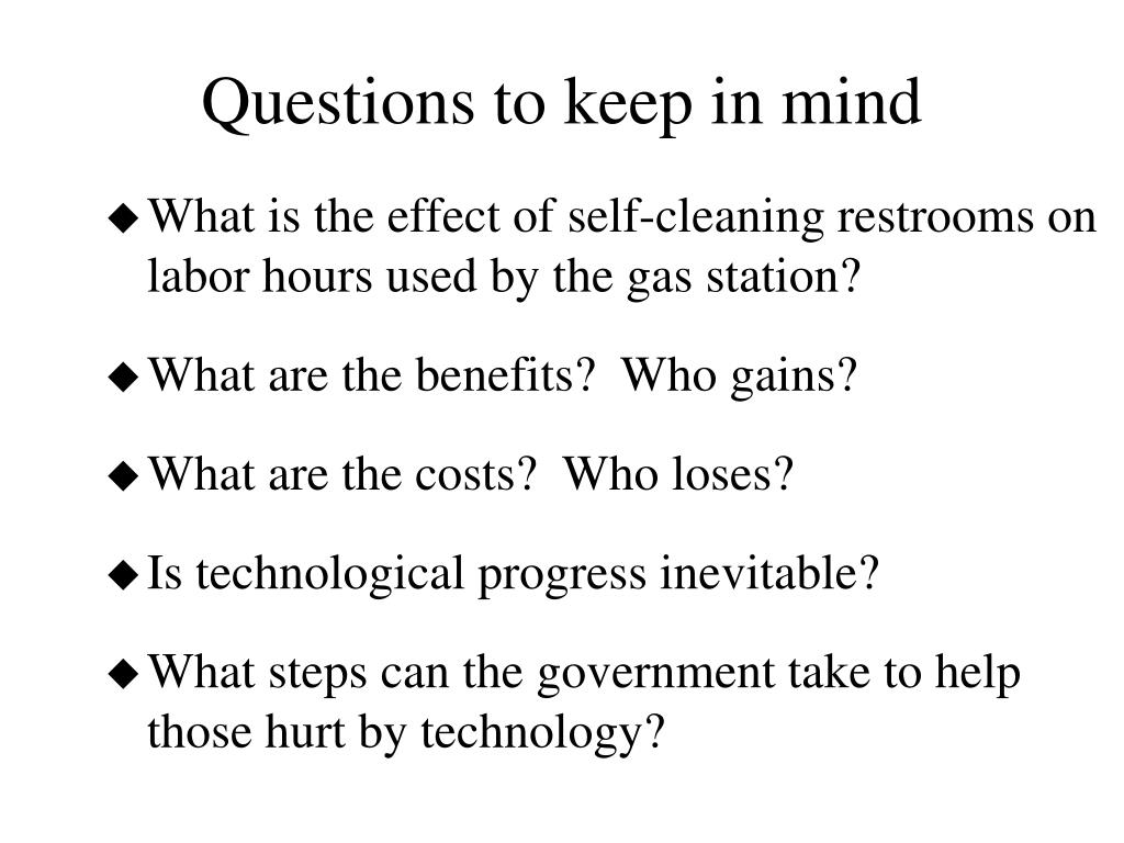 Questions to keep in mind