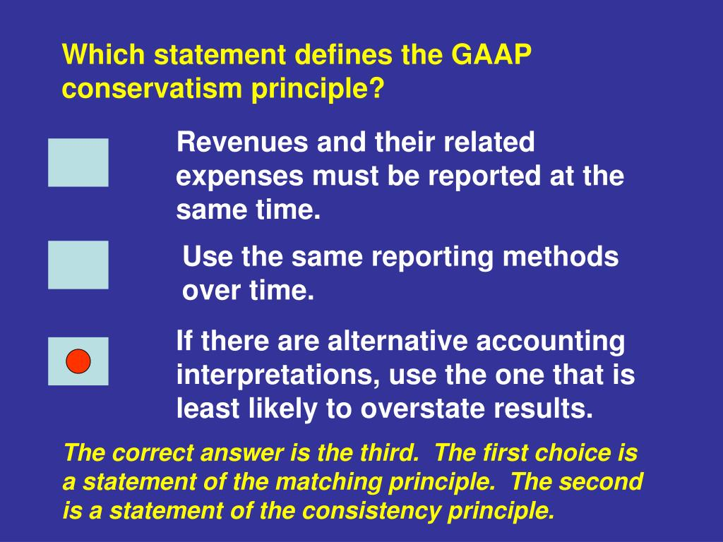 Which statement defines the GAAP conservatism principle?